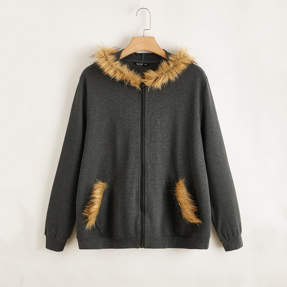 Куртка размера плюс на молнии с капюшоном и искусственным мехом