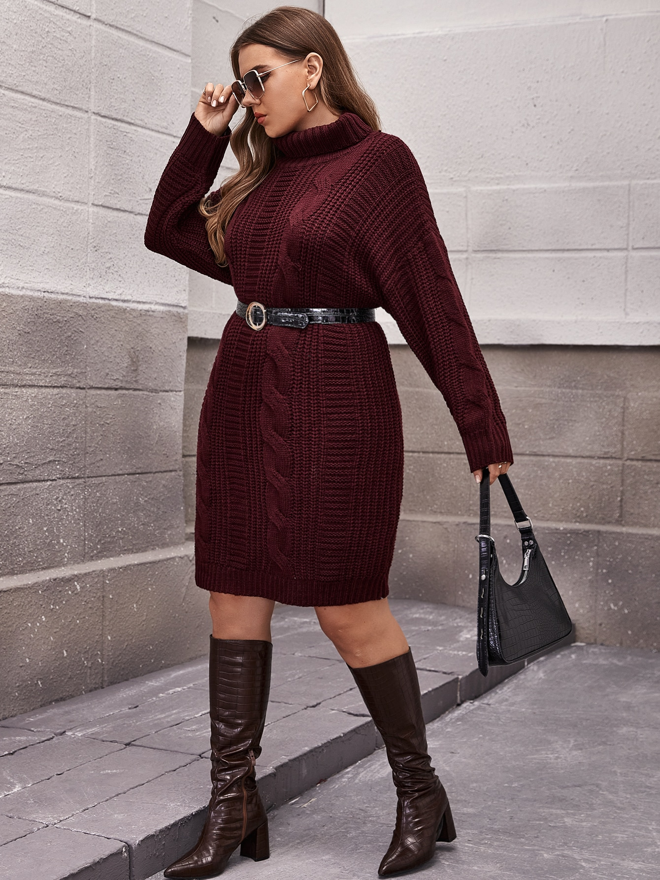Plus Turtleneck Solid Knit Dress Without Belt thumbnail