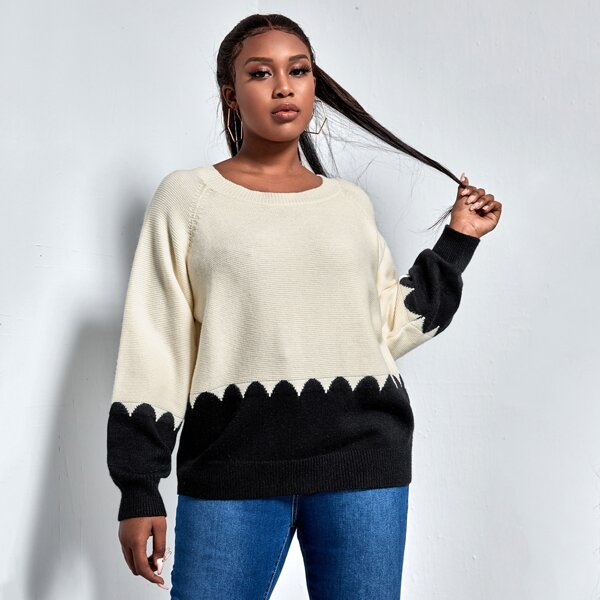 Plus Raglan Sleeve Two Tone Sweater, Black and white