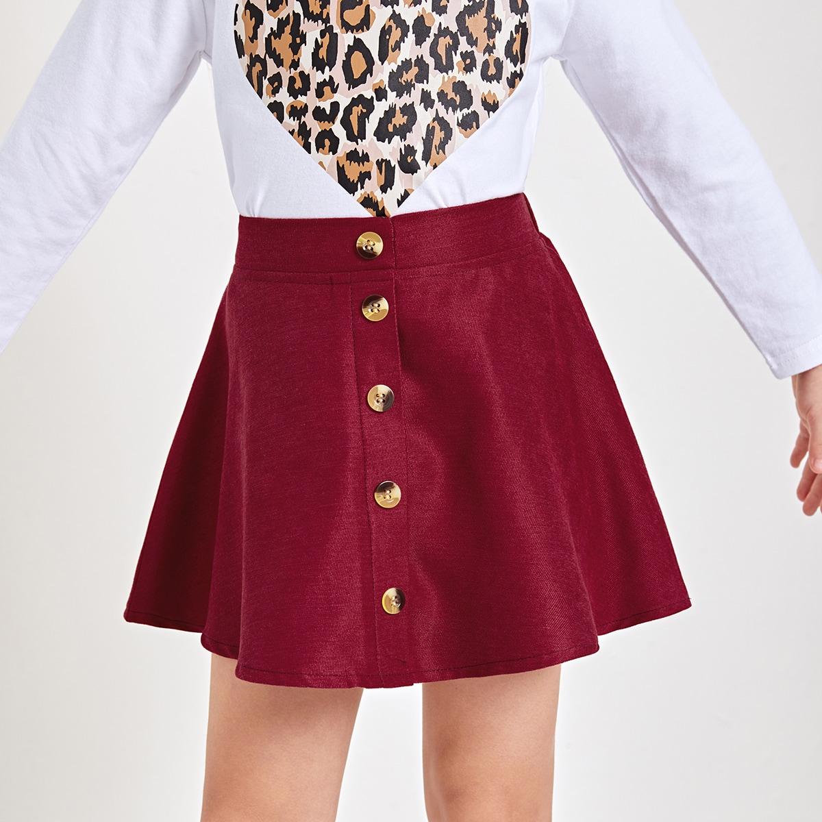 Пуговица одноцветный повседневный юбки для девочек
