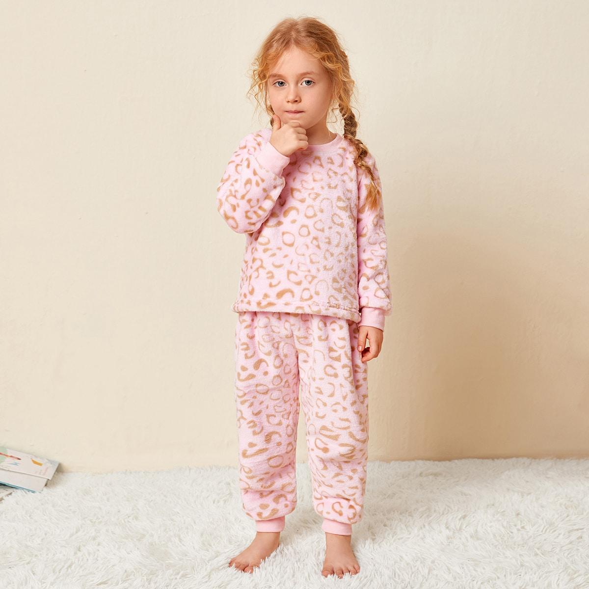 Фланелевая пижама с узором для девочек