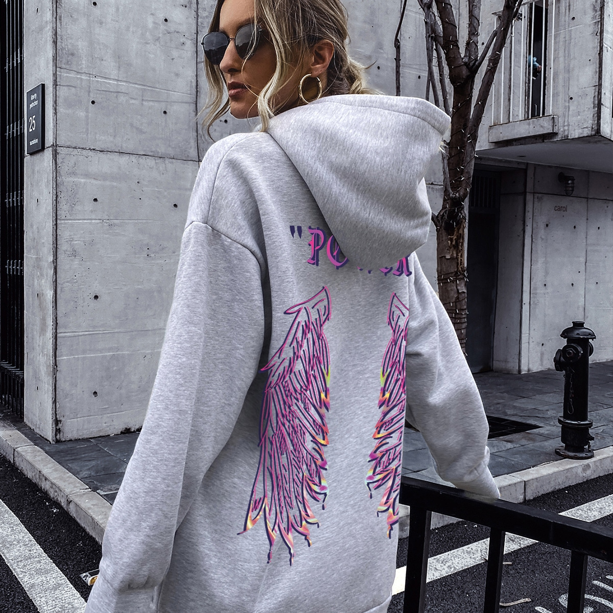 Letter And Wings Print Drawstring Hoodie