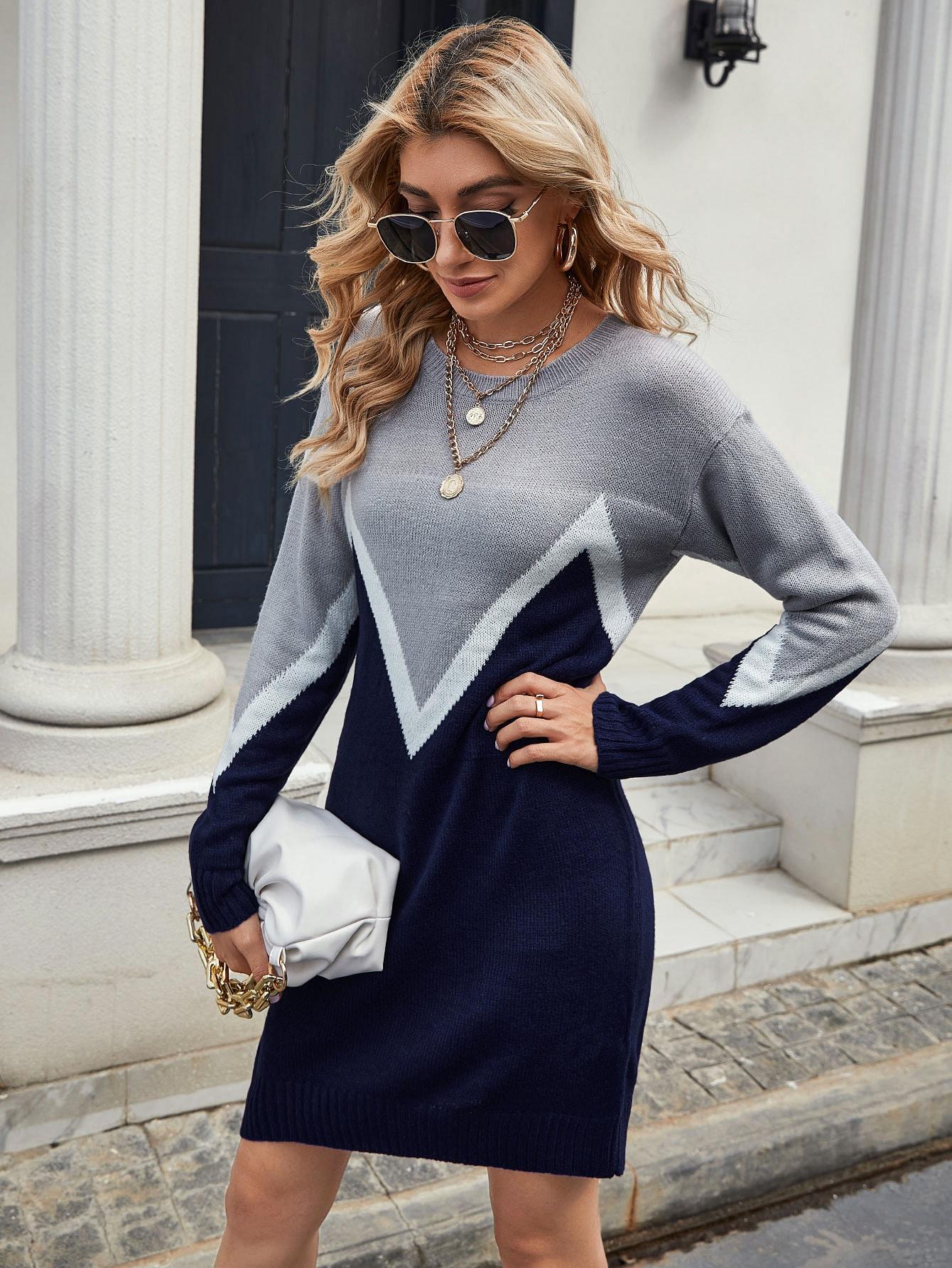 Drop Shoulder Chevron Colorblock Sweater Dress thumbnail