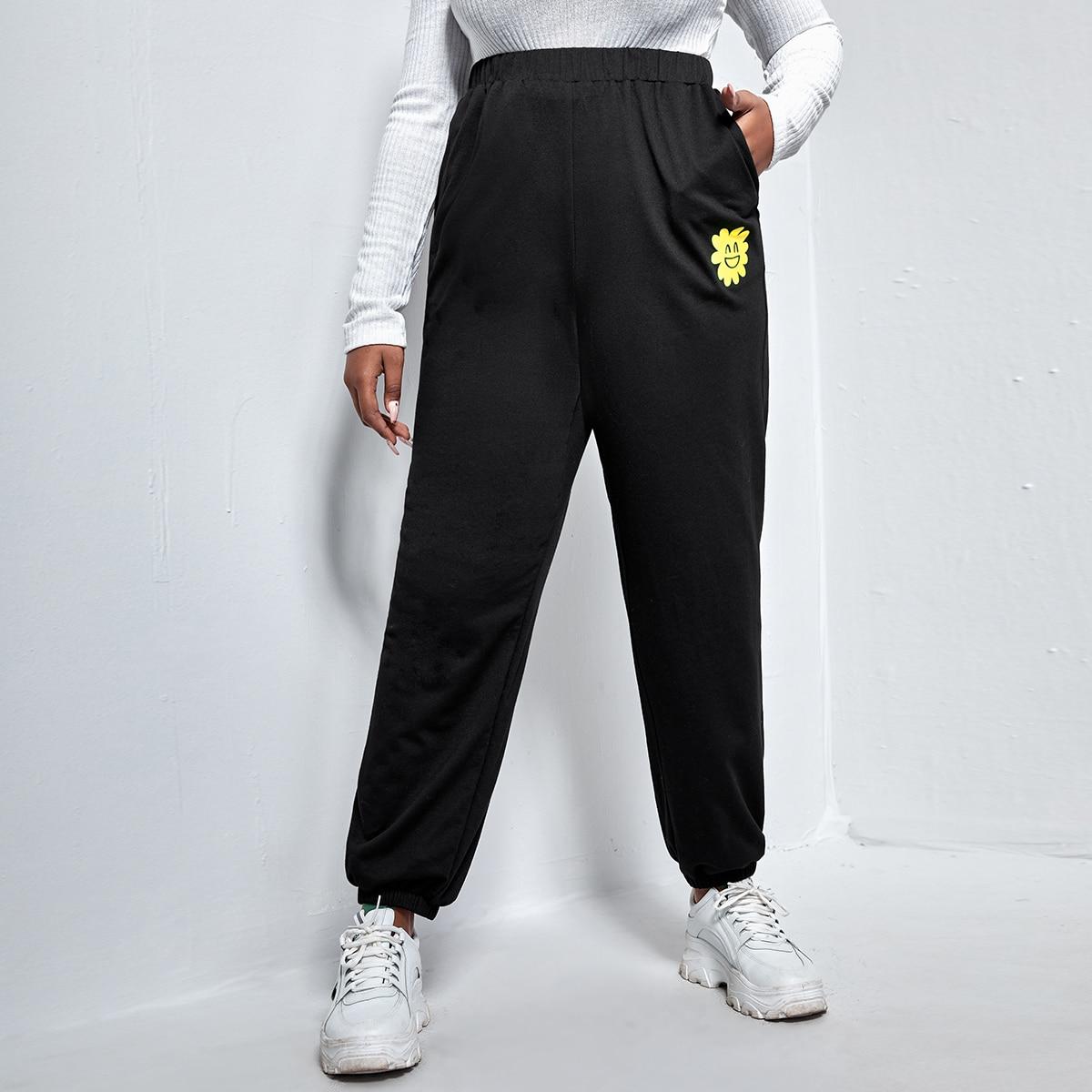 Спортивные брюки размера плюс с высокой талией и мультипликационным принтом