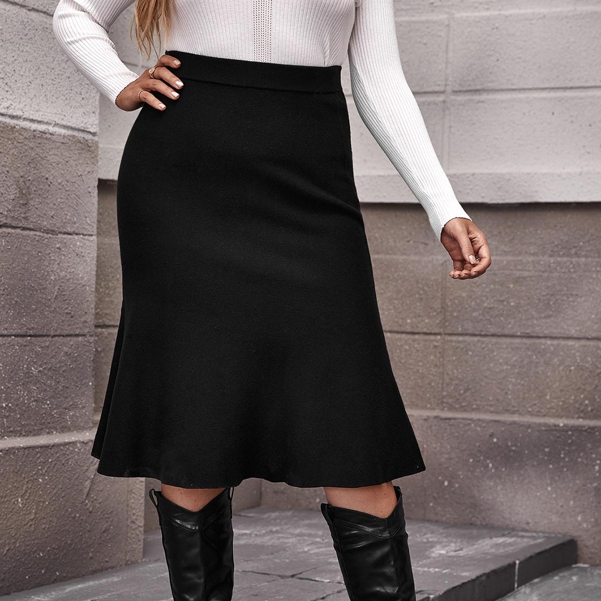 Трикотажная юбка размера плюс с эластичной талией