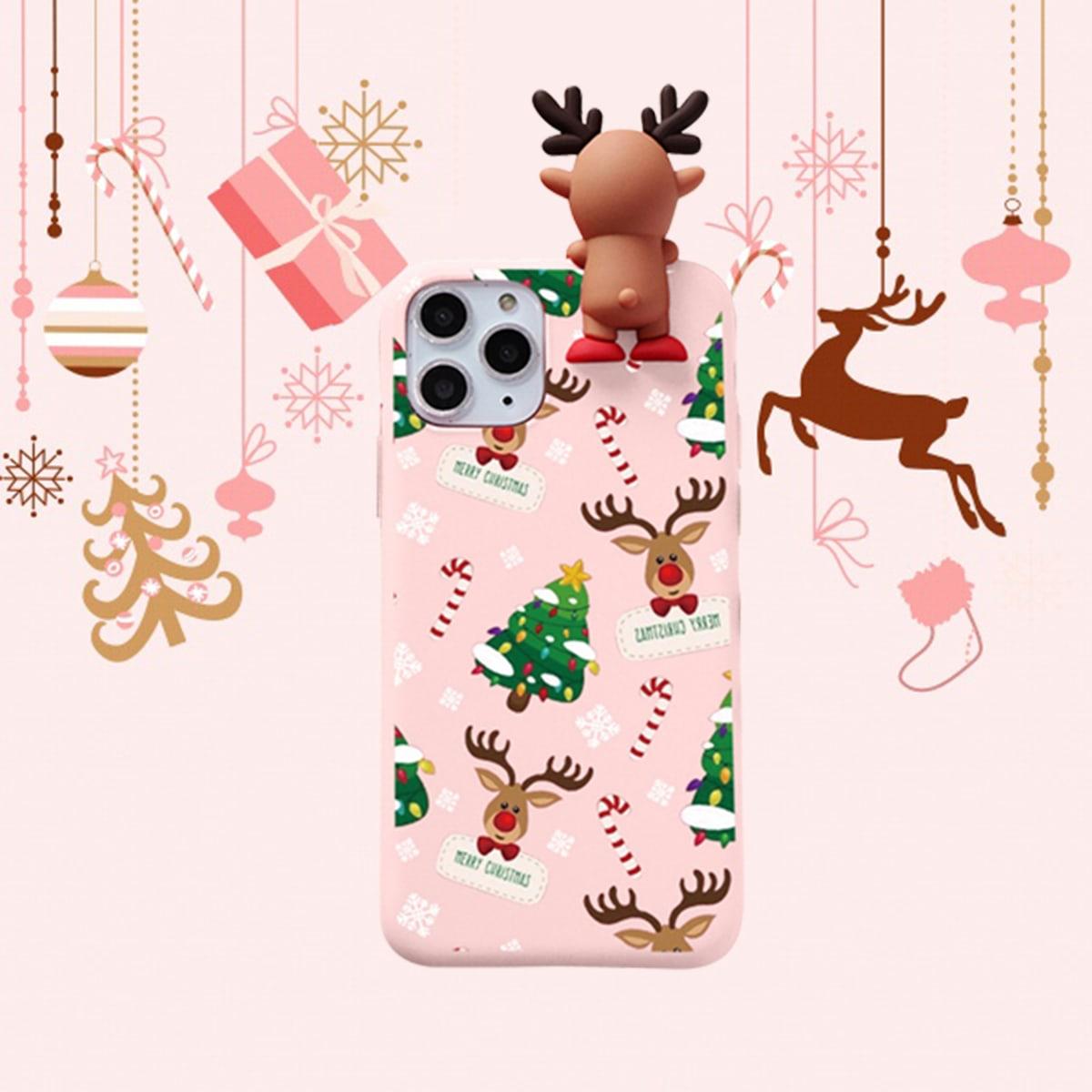 Handy Etui mit Weihnachten Muster und Elch Dekor