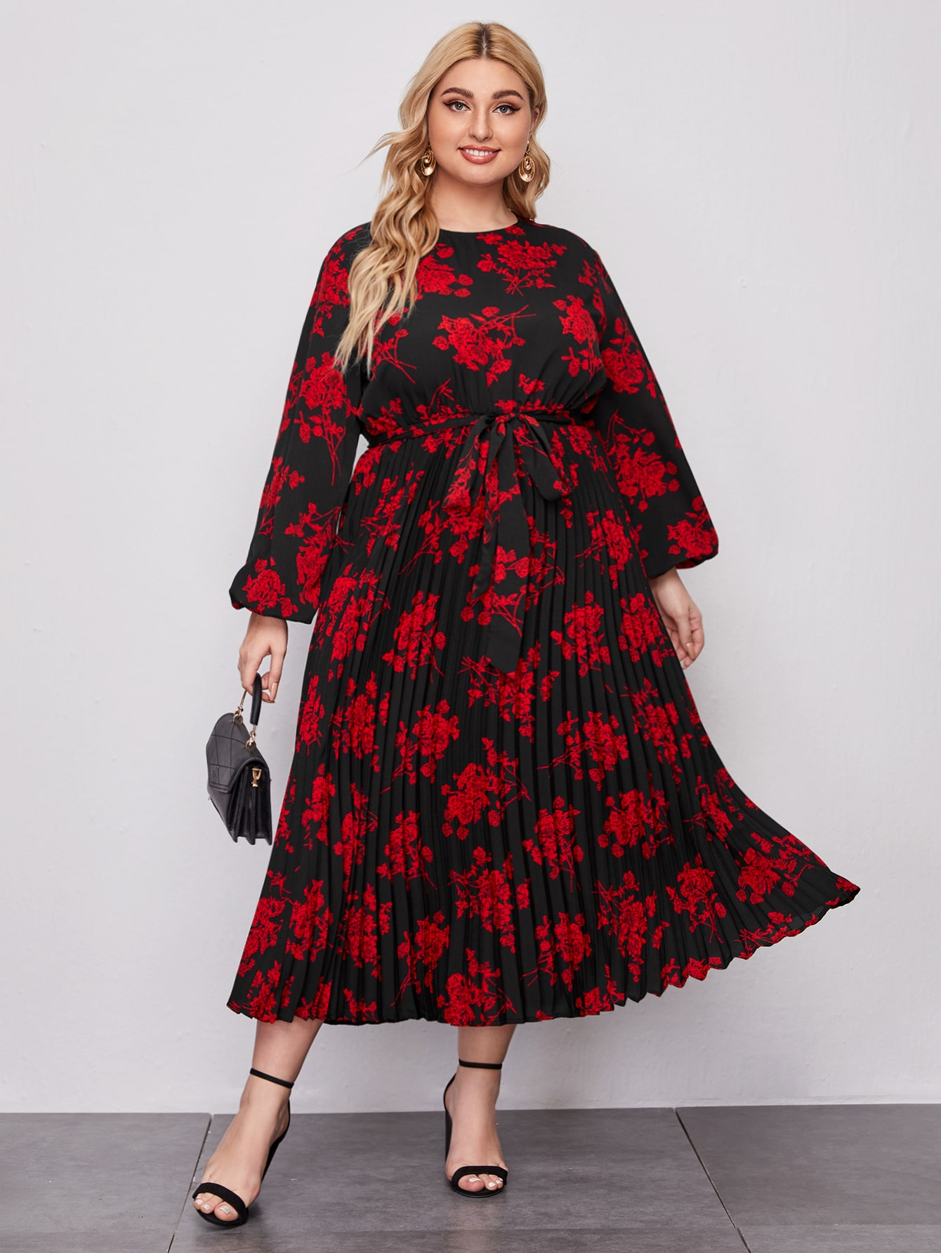 Plus Bishop Sleeve Self Belted Floral Dress thumbnail