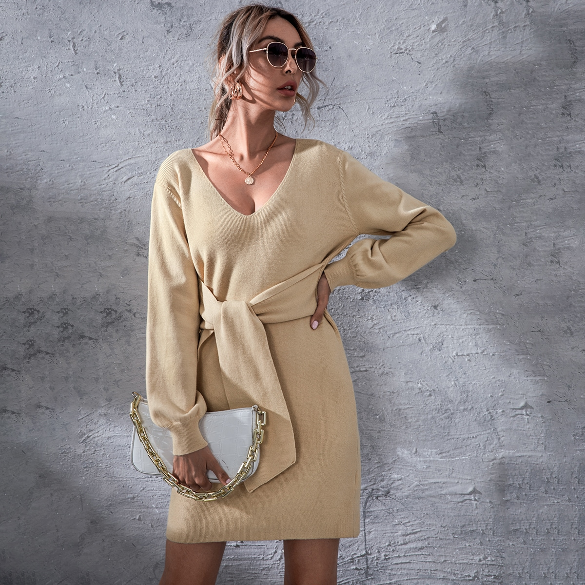 Drop Shoulder Knot Front Sweater Dress