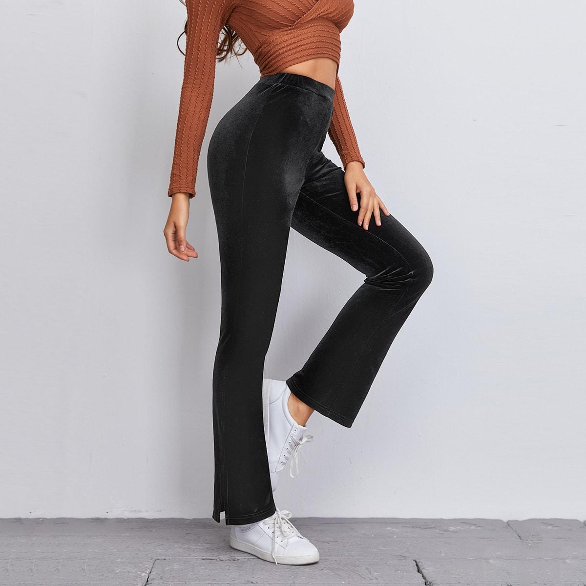Бархатные брюки-клеш