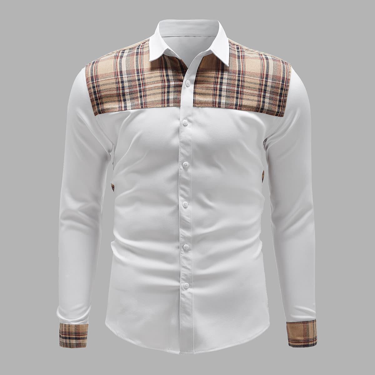 Пуговица Клетчатый Институтский Мужские рубашки SheIn smshirt03201028259
