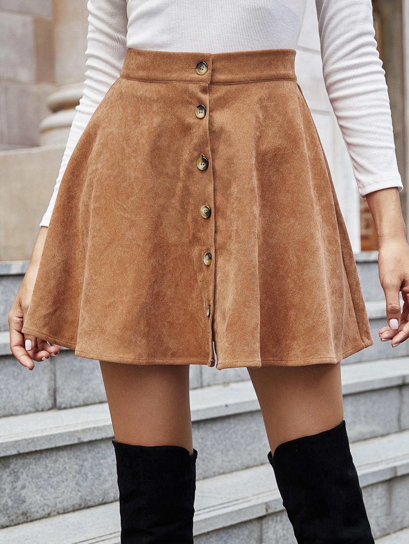 Corduroy Button Front Flared Skirt thumbnail