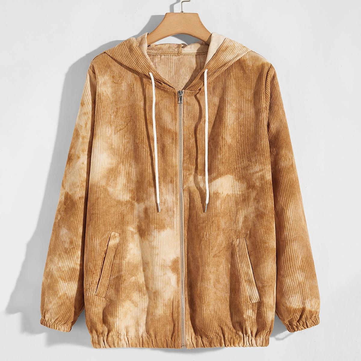 Мужская вельветовая куртка на молнии с принтом тай-дай