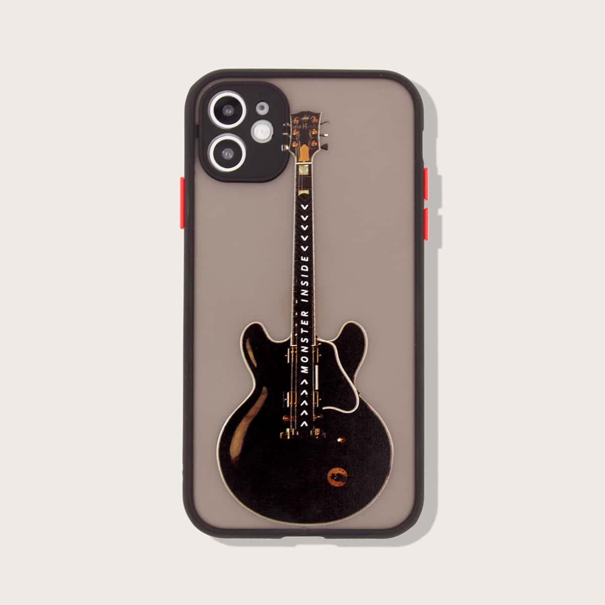 iPhone Etui mit Gitarre Muster und Kontrast Rahmen