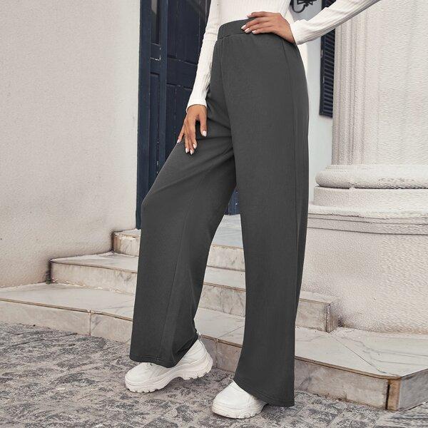 High Waist Wide Leg Pants, Dark grey