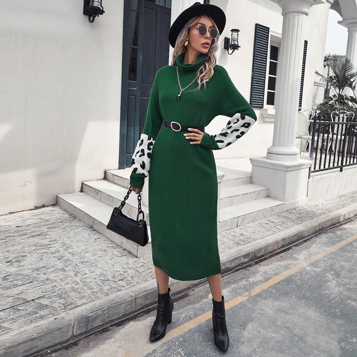 Платье-свитер с леопардовым рукавом без пояса
