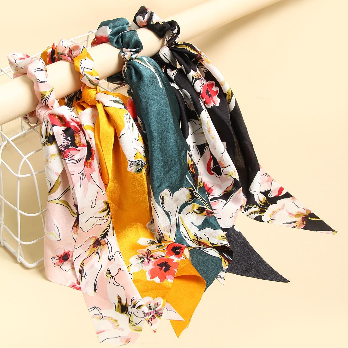 4 piezas pañuelo goma de pelo floral