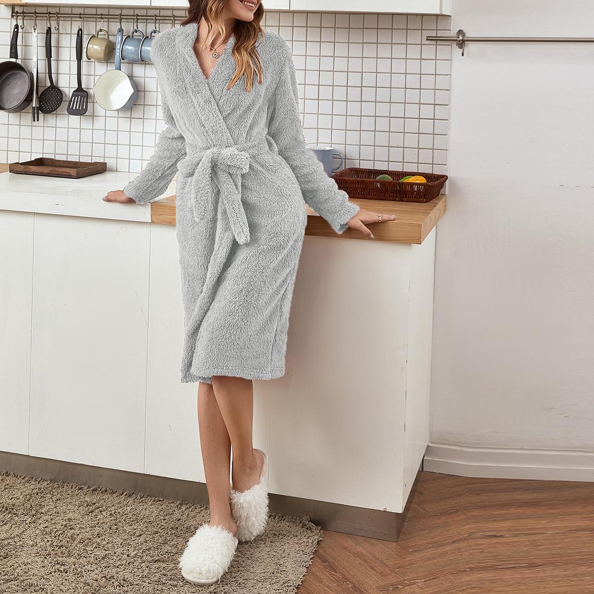 Flannel Self Tie Solid Bathrobe