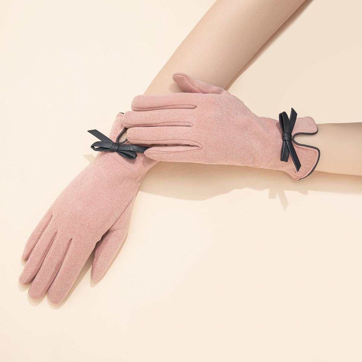 Замшевые перчатки с бантом