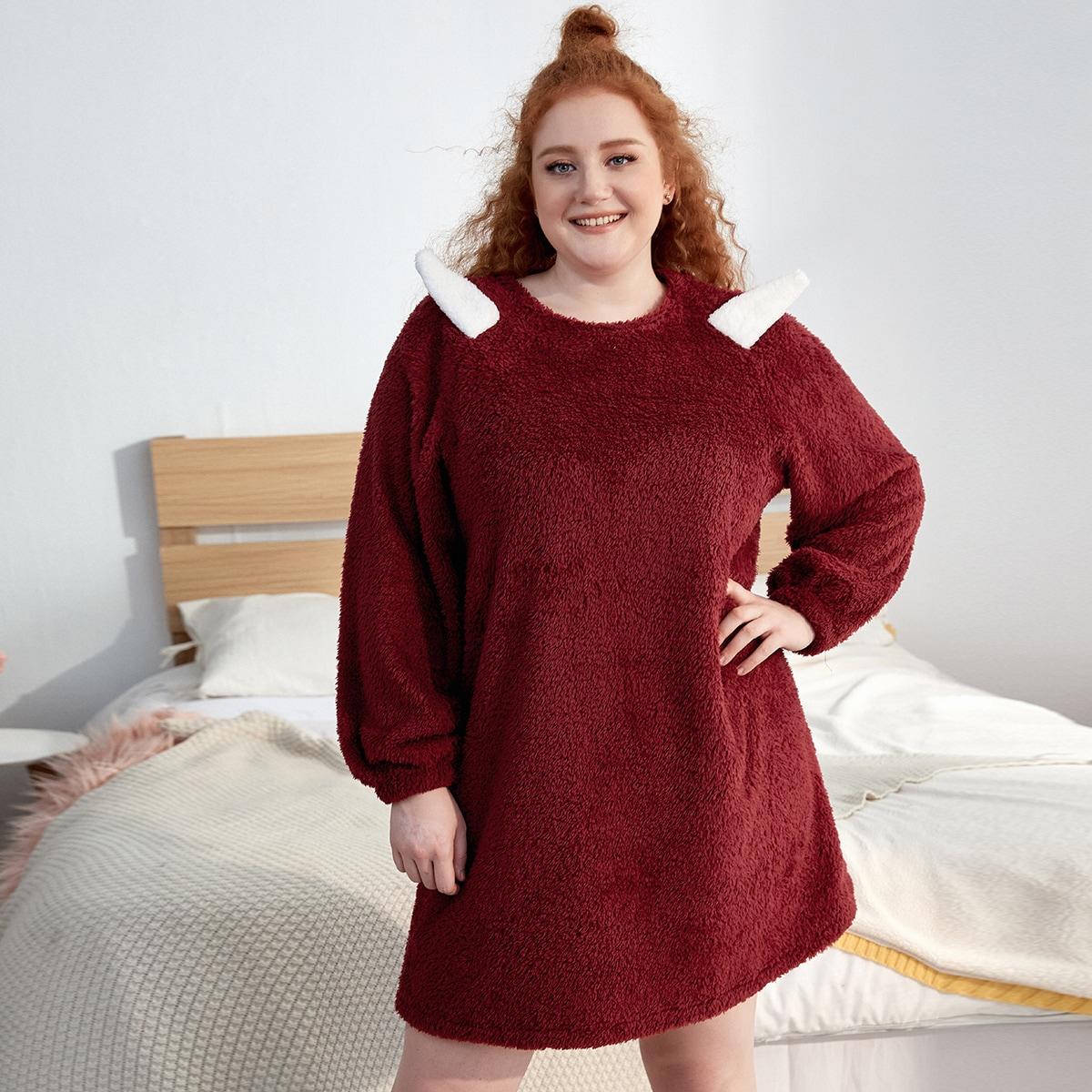 Фланелевая ночная рубашка большого размера с нашивкой 3d