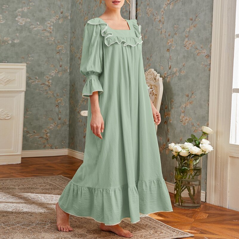 Square Neck Flounce Sleeve Nightdress, Pastel mint green