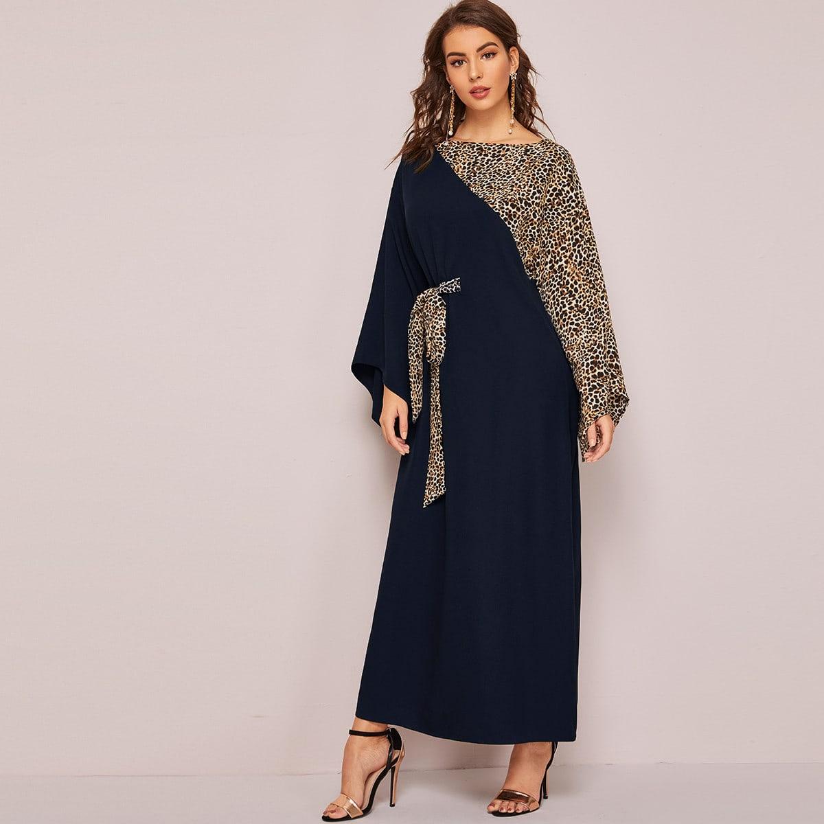 Контрастное леопардовое платье макси с узлом
