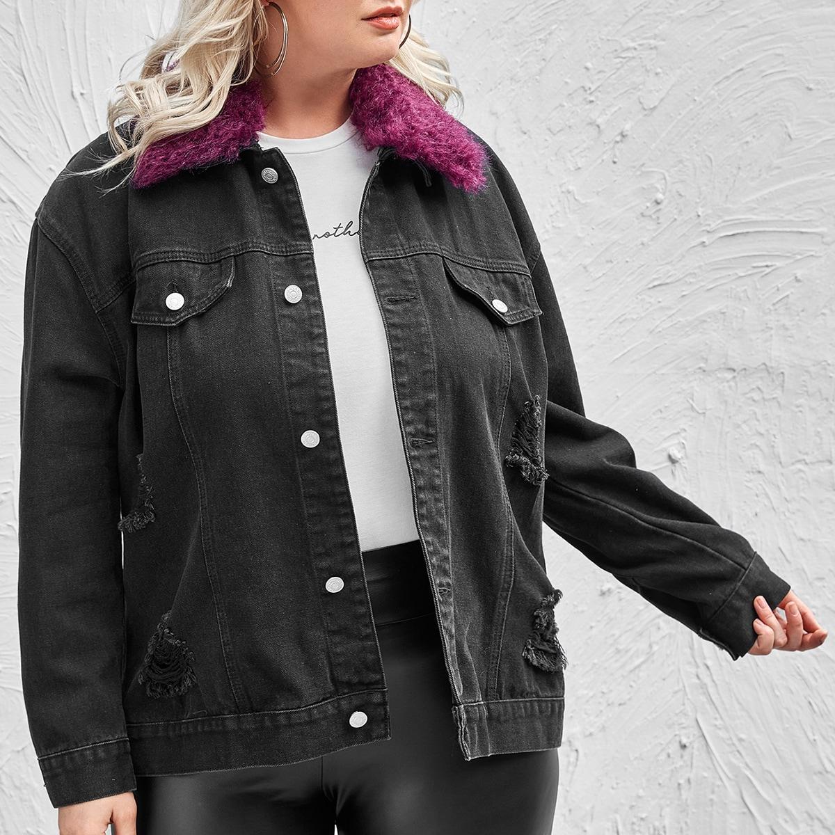 Рваная джинсовая куртка размера плюс с воротником из искусственного меха