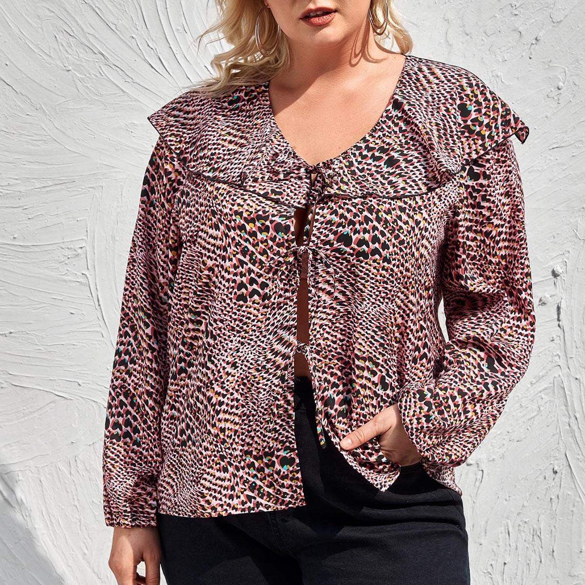 Многоцветный с оборками леопард повседневный женские топы размер плюс