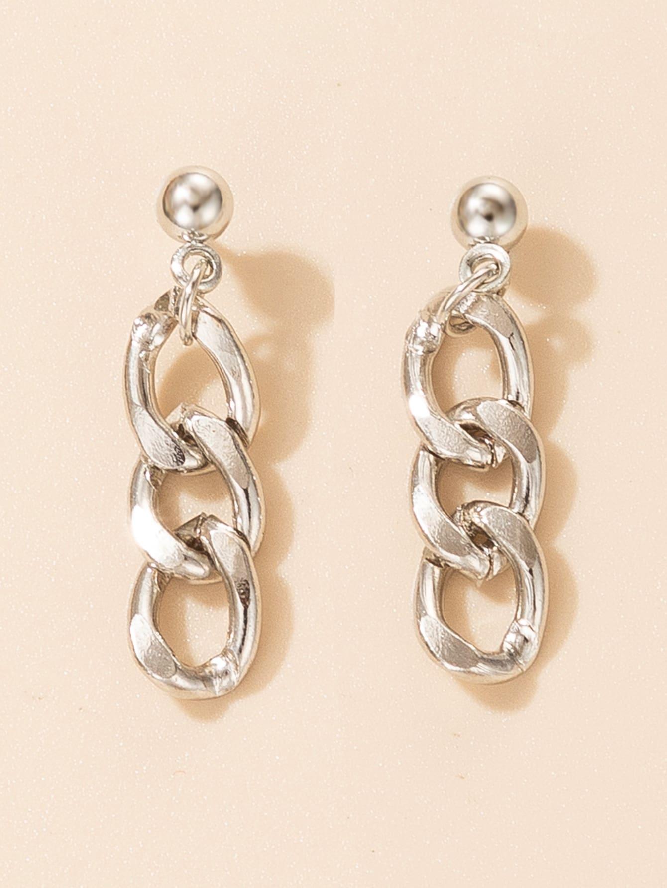 Металлические серьги-подвески в форме цепиswear18201106359