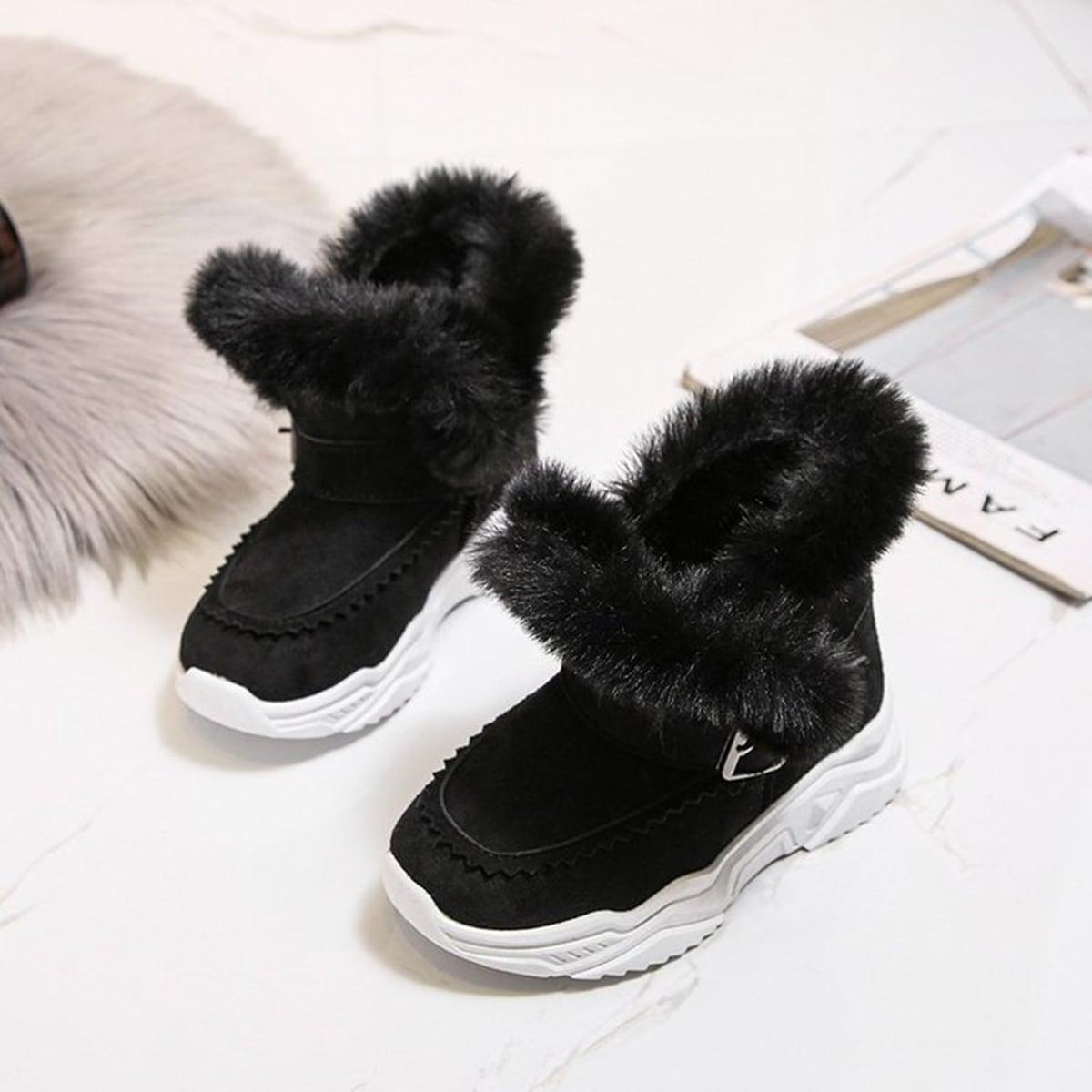 Без молнии контрастный искусственный мех одноцветный детские ботинки