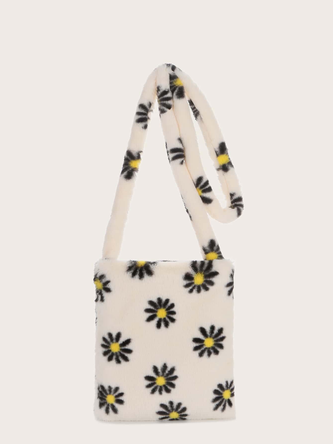 Flower Graphic Fluffy Crossbody Bag thumbnail
