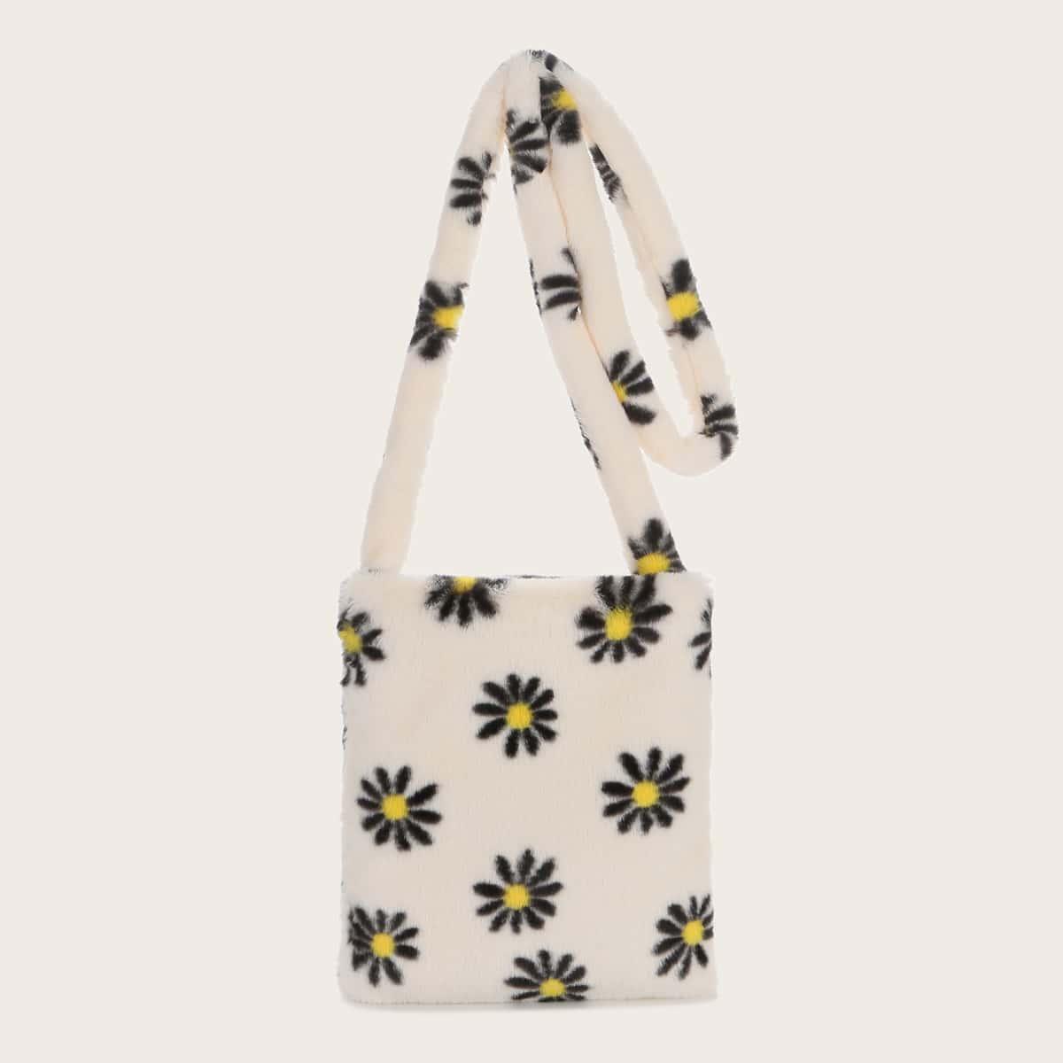 Плюшевая сумка через плечо с цветочным принтом