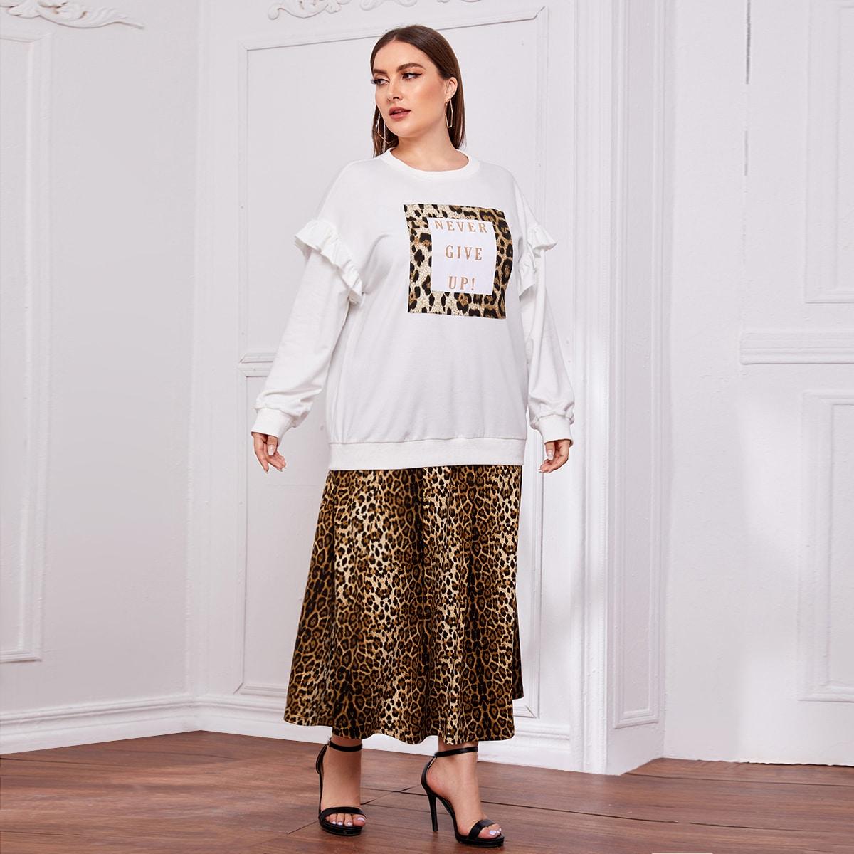Plus Leopard Slogan Graphic Ruffle Detail Sweatshirt & Skirt Set