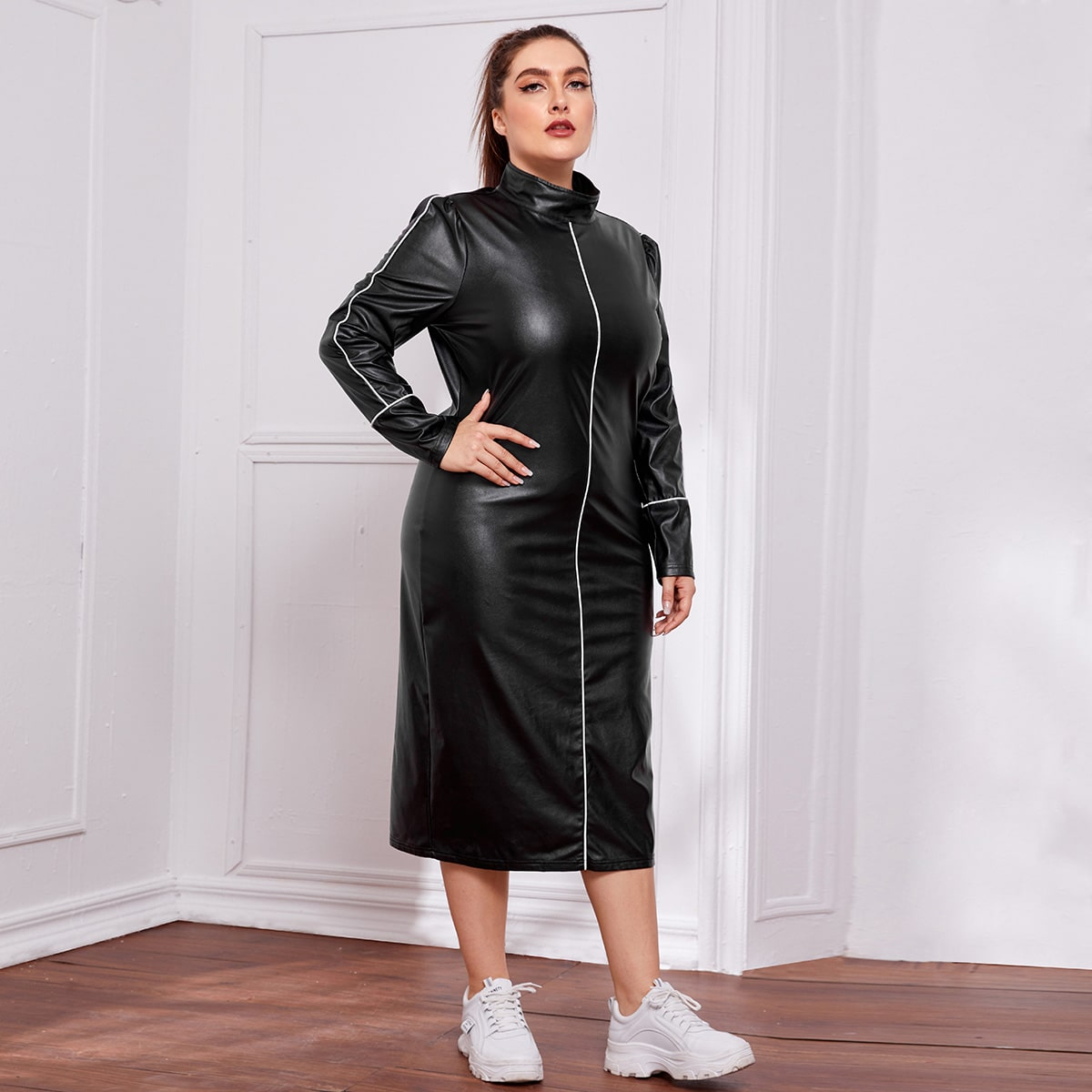 Plus Funnel Neck Contrast Piping PU Leather Dress