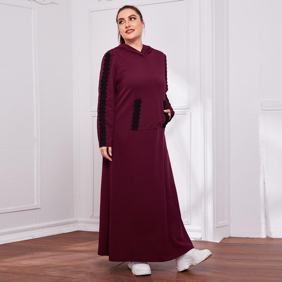 Платье размера плюс с капюшоном, карманом и кружевной отделкой