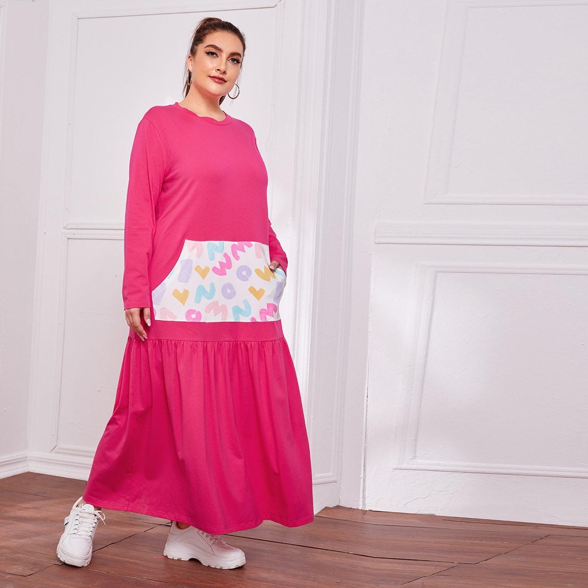 Платье размера плюс с контрастным карманом