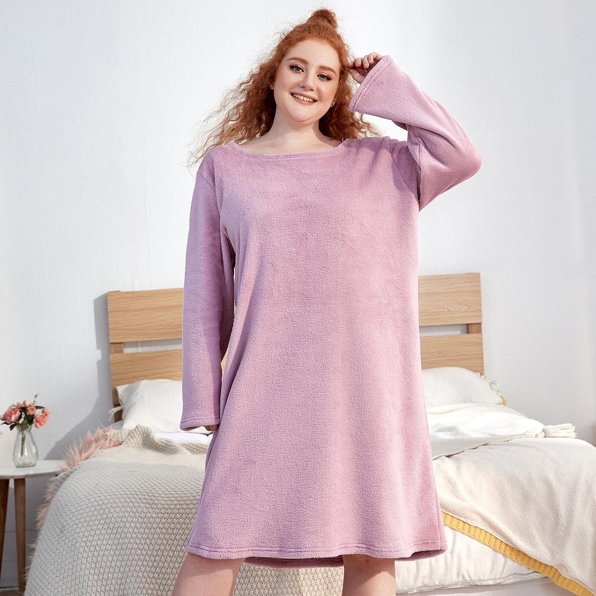 Пышная однотонная пижама оверсайз с вырезом лодочкой
