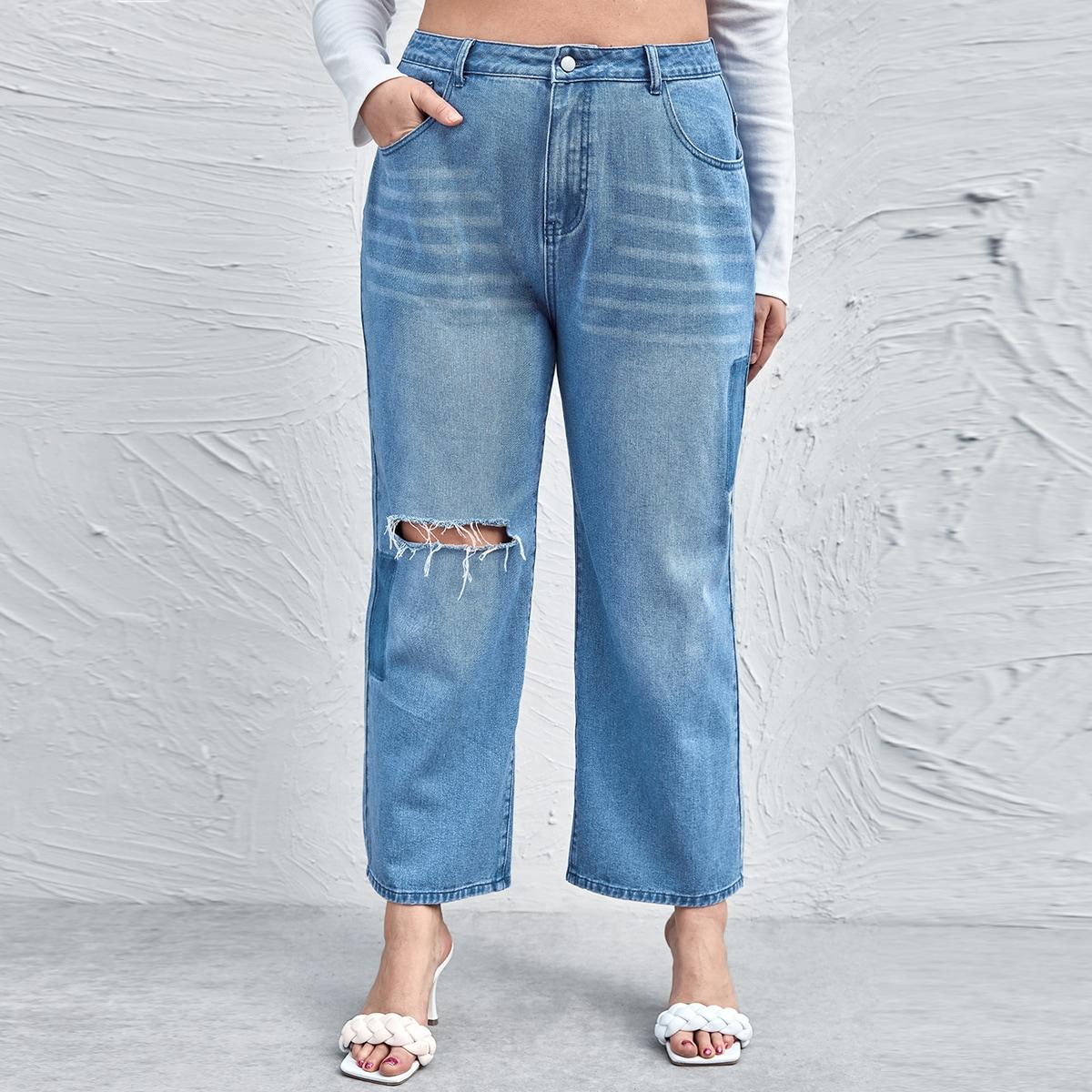 Рваные широкие джинсы размера плюс с высокой талией