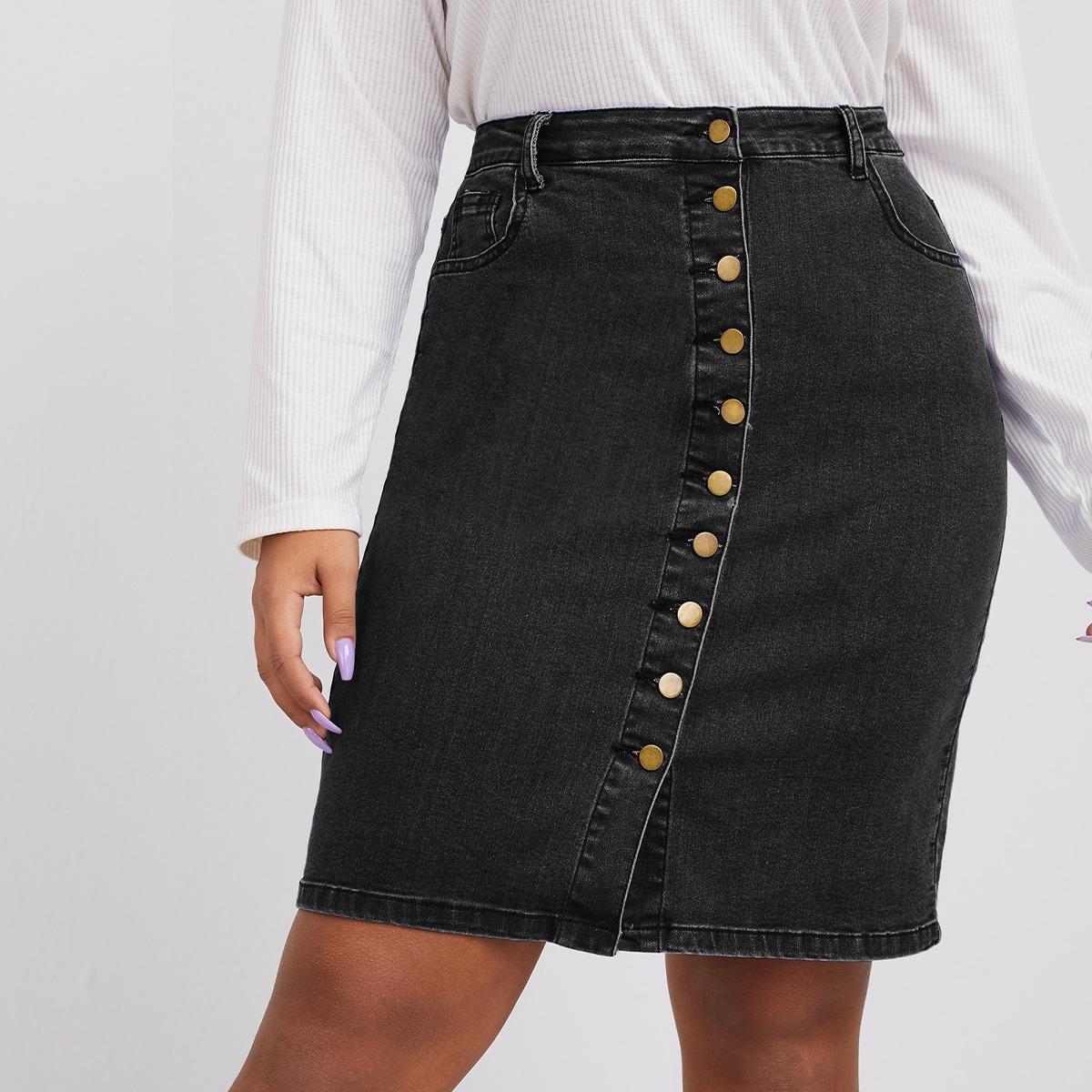 Джинсовая юбка размера плюс с пуговицами и высокой талией