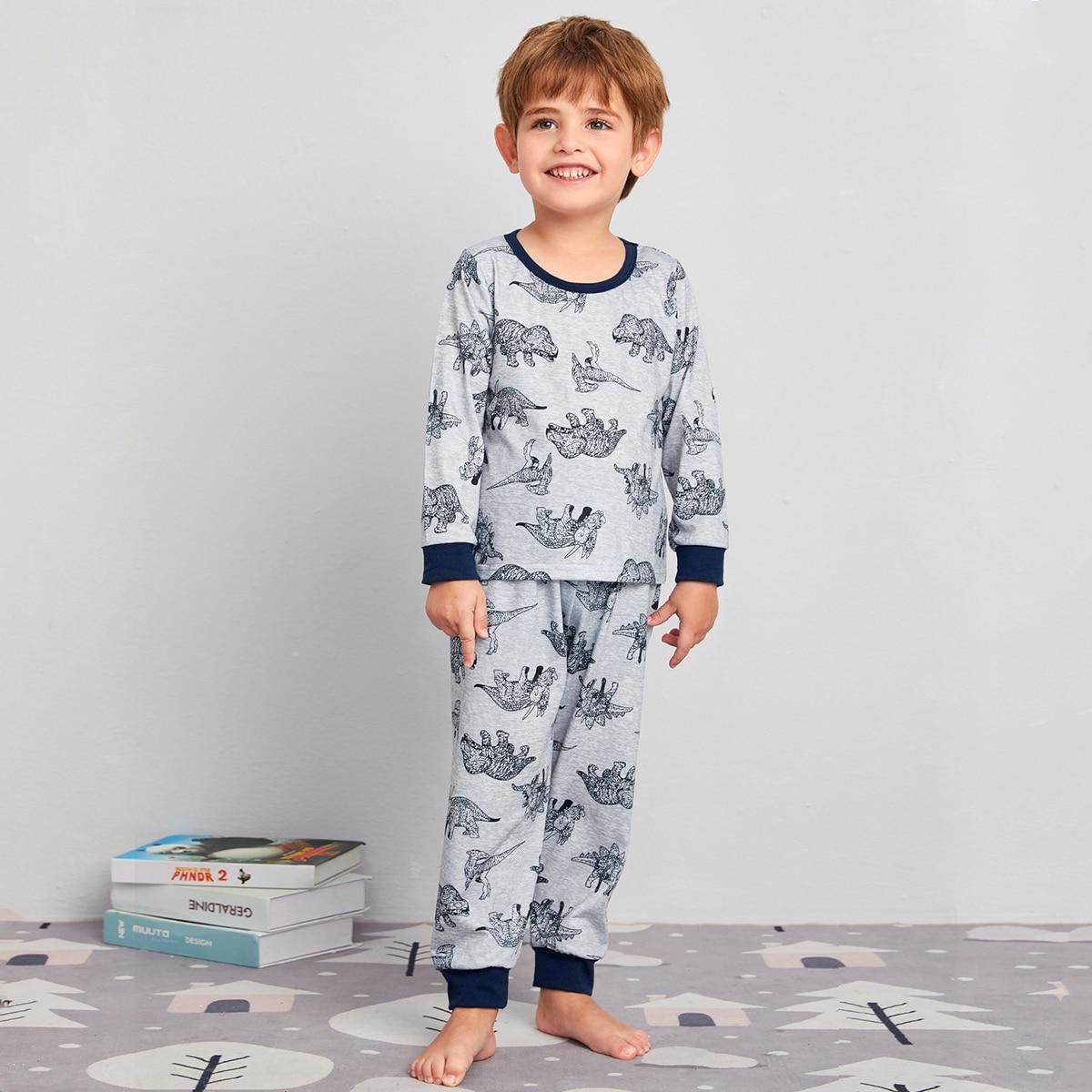 Контрастная отделка животный милый домашняя одежда для мальчиков