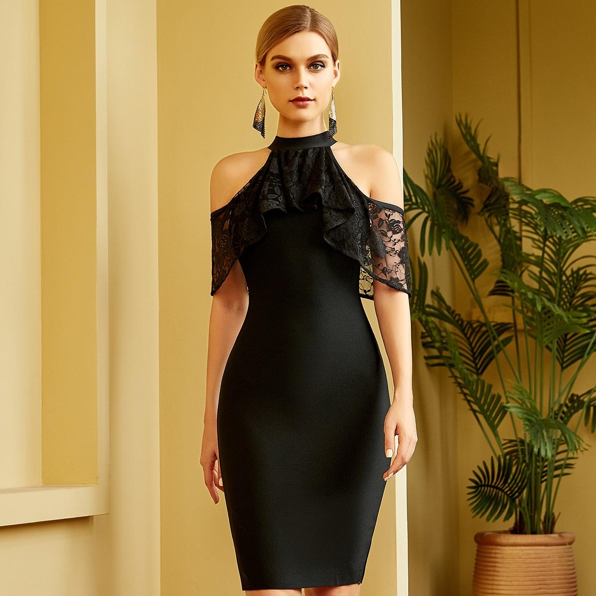 Mock Neck Lace Trim Bodycon Dress