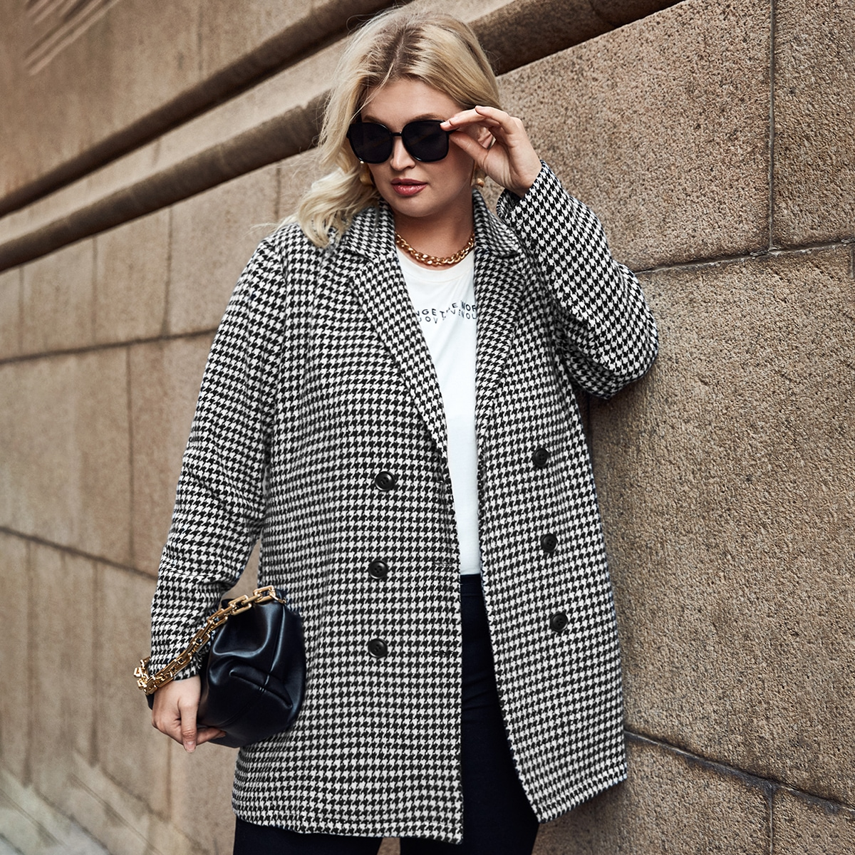 Plus Double Button Houndstooth Pea Coat