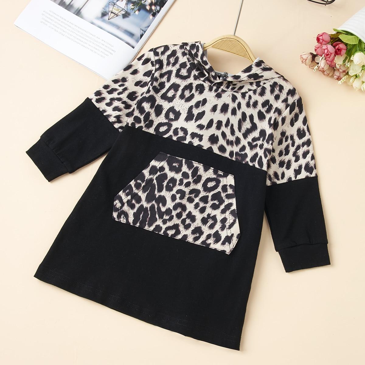 С карманами леопард повседневный свитшоты для малышей