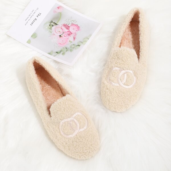 Embroidered Detail Fluffy Flats, Beige