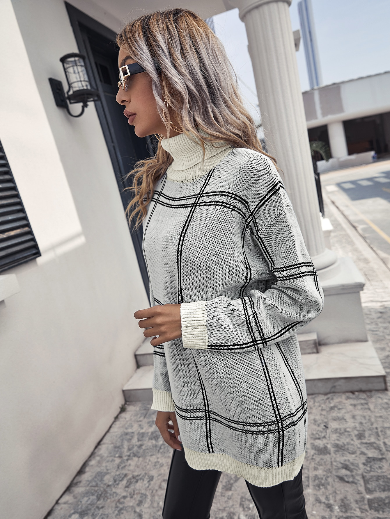 Turtleneck Drop Shoulder Plaid Longline Sweater thumbnail
