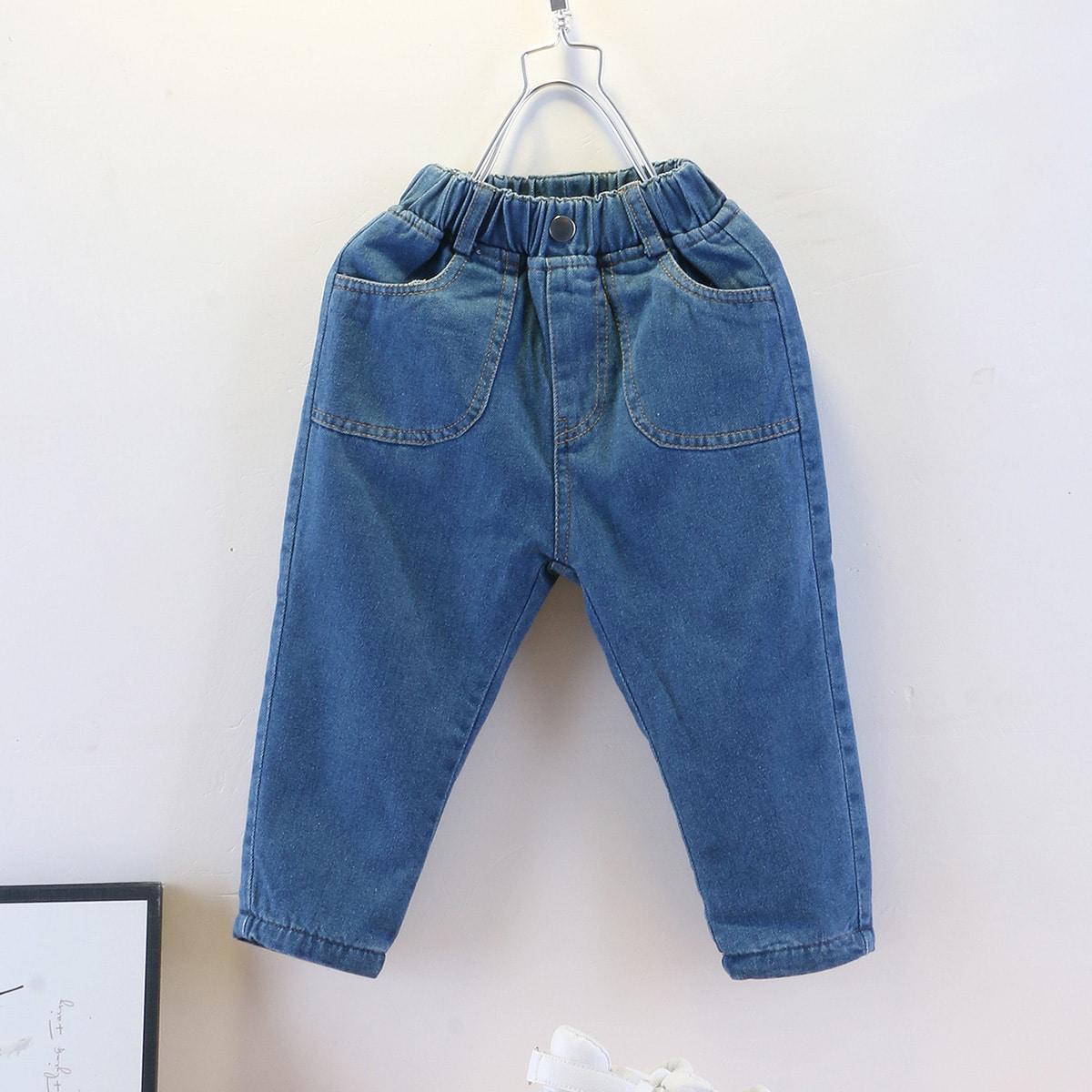Карман одноцветный повседневный джинсы для мальчиков