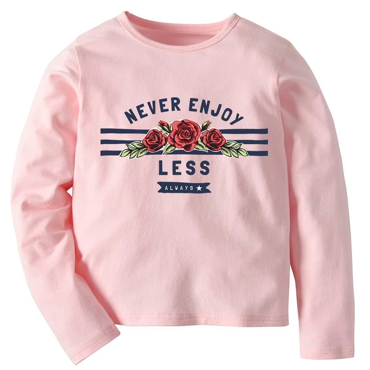 Цветочный повседневный футболки для маленьких девочек