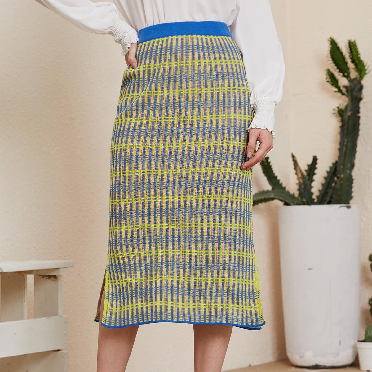 Разрез клетка элегантный вязаные юбки