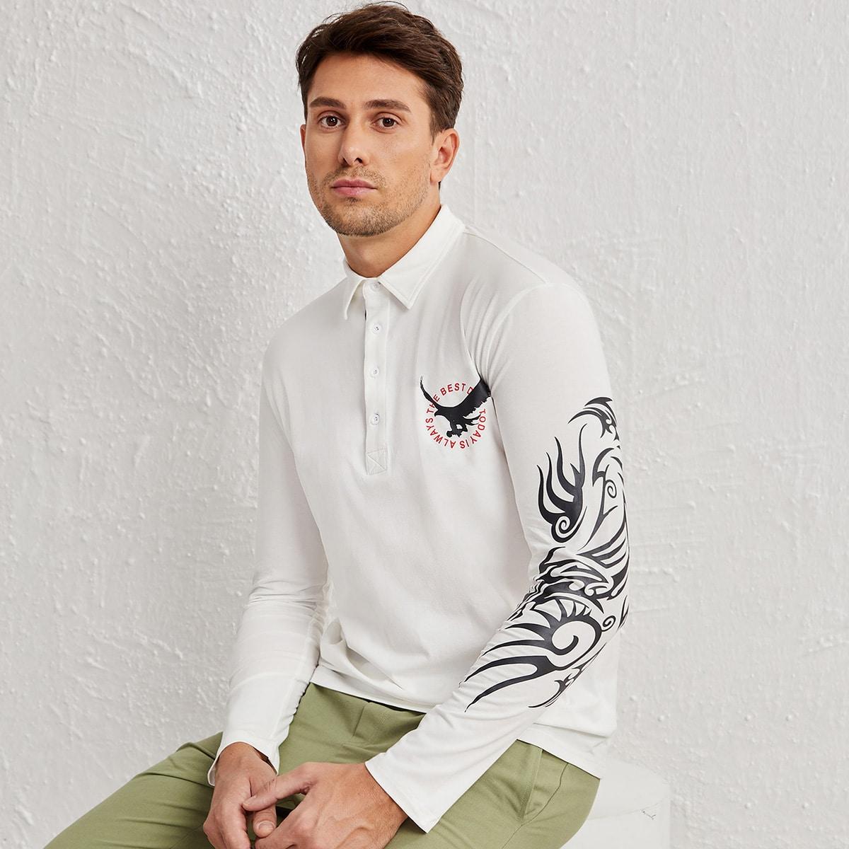 Пуговица животный институтский мужская рубашка-поло