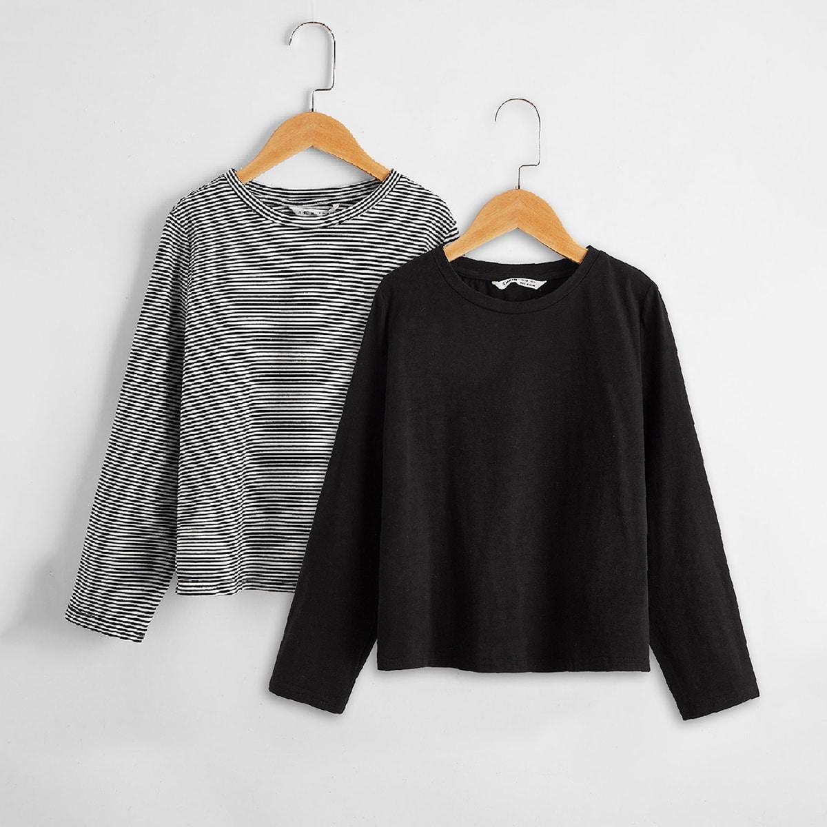 Полосатый основы футболки для девочек