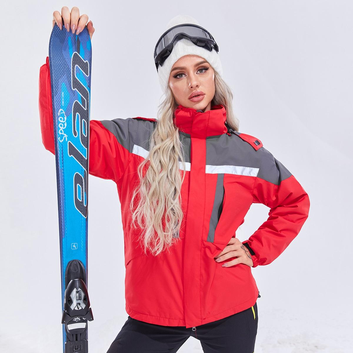 На молнии контрастный цвет спортивные куртки